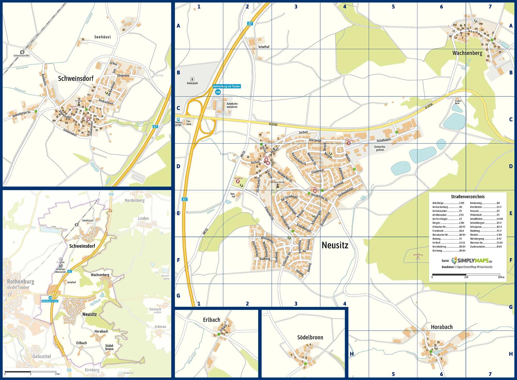 Ortsplan der Gemeinde Neusit